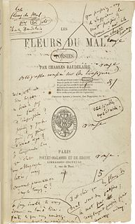 <i>Les Fleurs du mal</i> volume of French poetry by Charles Baudelaire