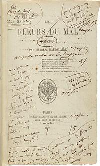 ボードレールによる書き込みがなされた1857年版『悪の華』扉。