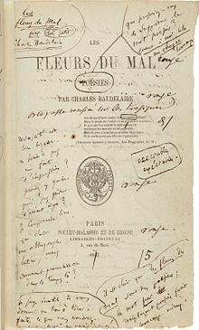 La prima edizione de I fiori del male, con le note di Baudelaire