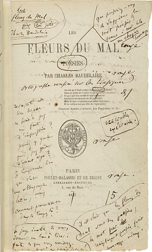 1857 in poetry - The first edition of Les Fleurs du mal by Charles Baudelaire, with author's notes.