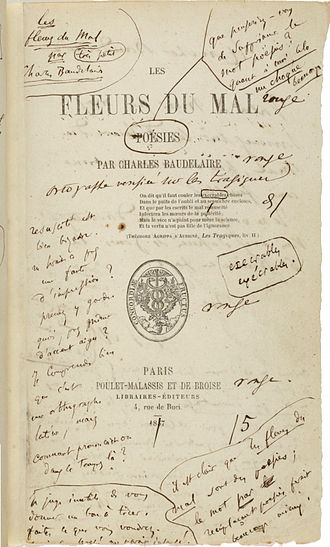 Charles Baudelaire - The first edition of Les Fleurs du mal with author's notes