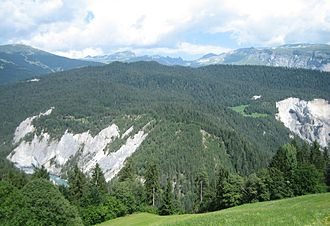 Flims rockslide - Debris area seen from the south