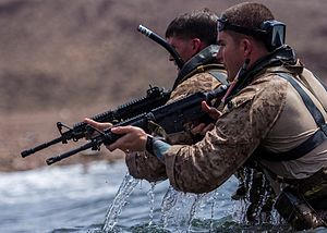26th Marine Expeditionary Unit - 26th Marine Expeditionary Unit (MEU) Maritime Raid Force Marines conduct an amphibious insertion during sustainment training in the U.S. 6th Fleet area of responsibility, 3 August 2013.