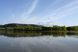 History of Yukon - Forty Mile Historic Site from the Yukon River.