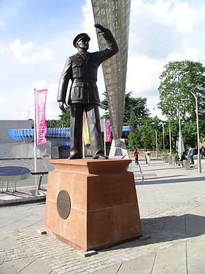 Gloster E.28/39 - Statue in Coventry, England of Sir Frank Whittle observing the first British jet-powered flight