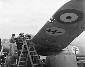 Free French Air Forces - Free French ground crew working on a Bristol Mercury XV radial engine on a Bristol Blenheim Mk.IV bomber at an airfield in North Africa.
