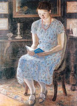 Frieseke Blue girl reading