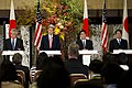 From left, U.S. Secretary of Defense Chuck Hagel, U.S. Secretary of State John Kerry, Japanese Minister of Foreign Affairs Fumio Kishida and Japanese Minister of Defense Itsunori Onodera hold a press conference 131003-D-BW835-1015.jpg