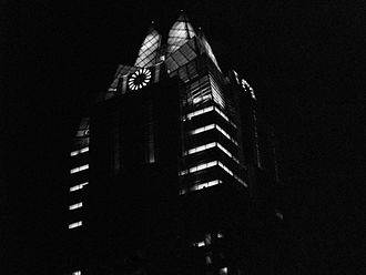 The Frost Bank Tower at night