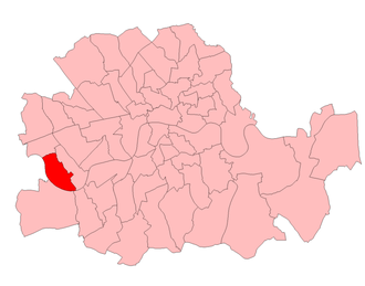 Fulham West (UK Parliament constituency) - Fulham West in the County of London, boundaries 1918-50