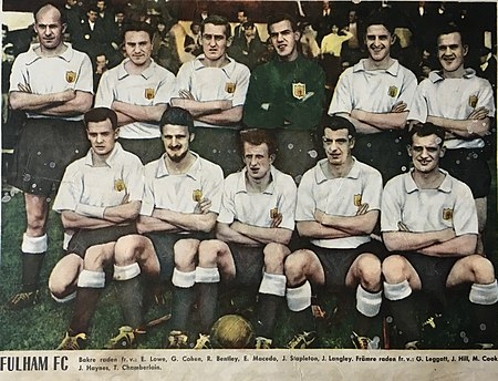 Fulham FC in 1958 with Johnny Haynes, as player number four from left in the front line. Fulham FC 1958.jpg