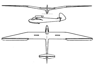 Göppingen Gö 3 - Göppingen Gö 3 Minimoa 3-view drawing from L'Aerophile March 1937