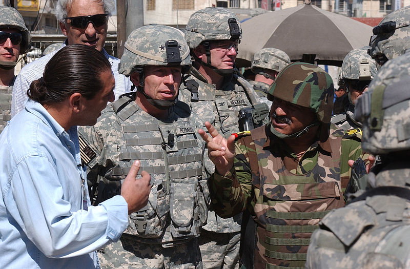 GEN Petraeus Walking Through Market 11 March 2007 in Baghdad.jpg