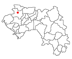 Location of Gaoual Prefecture and seat in Guinea.