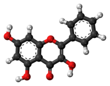 Ball-and-stick model of the galangin molecule