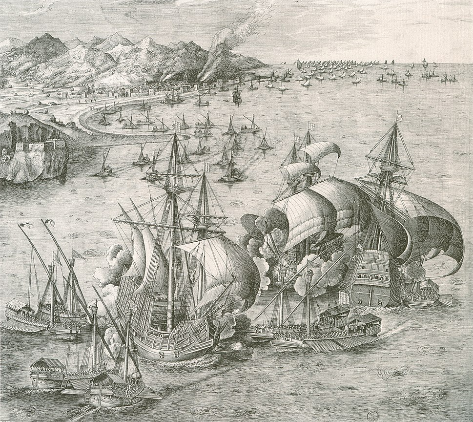 Galleys and carracks in battle