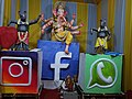 Ganesh Chaturathi pandal with social media icons.jpg