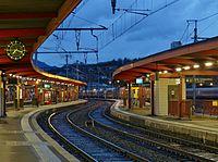 Gare de Chambéry au lever du jour (hiver 2017).JPG