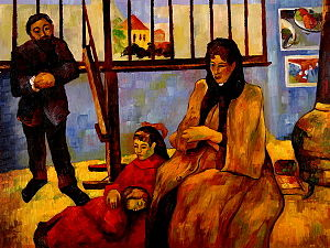 Émile Schuffenecker - Paul Gauguin, The Schuffenecker Family (1889), Musée d'Orsay. Analysis of the painting has been seen as depicting tensions in Schuffenecker's marriage, which eventually disintegrated.