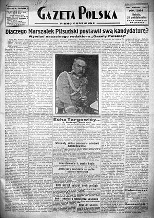 Gazeta Polska (1929–39) - Front page of Gazeta Polska, 5 October 1930