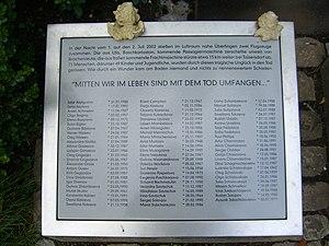 Überlingen mid-air collision - Memorial plaque