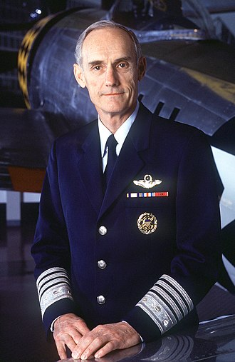 "United States Air Force officer rank insignia - General Merrill A. McPeak wearing the ""McPeak uniform"" with rank insignia on the sleeves"