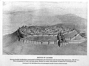 Curtain wall (fortification) - Reconstruction of defensive walls around ancient Lachish.