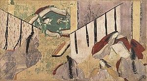"""Genji Monogatari Emaki - The """"sawarabi"""" scene, Tokugawa Art Museum"""