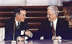 President George H. W. Bush and Boris Yeltsin sign the Start II Treaty at a ceremony at the Kremlin in Moscow on January 3, 1993.