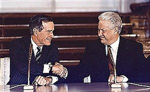 START II - Presidents George H. W. Bush and Boris Yeltsin sign START II on 3 January 1993 in Vladimir Hall, The Kremlin in Moscow, Russia