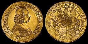Anselm Franz von Ingelheim (Archbishop of Mainz) - Image: German States Mainz 1682 10 Ducats