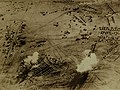 German bombs exploding over British Camp in South Africa, November 1915 (21795476843).jpg