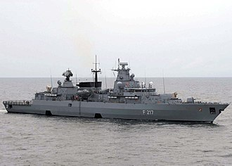 Brandenburg-class frigate - Image: German frigate Bayern (F217) underway in the Baltic Sea on 13 June 2008 (080613 N 3396B 046)