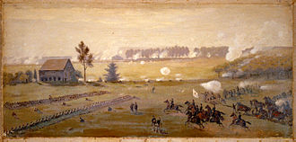 Battle of Gettysburg, Second Day - Sickles spurs ahead of his staff to inspect the front lines of his threatened III Corps at the tip of the Peach Orchard salient. Confederates can be seen massing for an attack by the fringe of trees in the distance. Painting (The battle of Gettysburg) by Edwin Forbes.