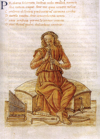 Martianus Capella - Musica, illustration by Gherardo di Giovanni del Fora (15th century)