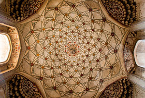Tomb of Dai Anga - The underside of the tomb's dome still features some Mughal-era frescoes.