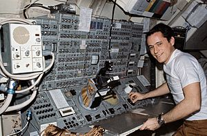 Edward Gibson - Gibson at the Apollo Telescope Mount console in the Skylab Multiple Docking Adapter