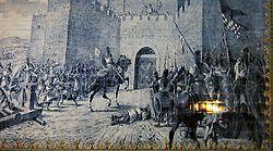 Painel historiado do cerco ao Castelo de Torres Novas, painel de Gil Pais, Torres Novas.