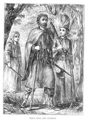 Gísla saga - Gisli with his wife Aud and their foster-daughter Gudrid. Illustration from George Webbe Dasent's 1866 translation.