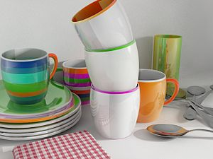 3d rendering of some dishes