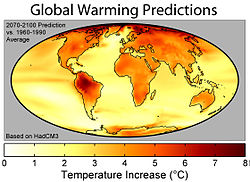 The geographic distribution of surface warming during the 21st century calculated by the HadCM3 climate model if a business as usual scenario is assumed for economic growth and greenhouse gas emissions. In this figure, the globally averaged warming corresponds to 3.0 °C (5.4 °F).