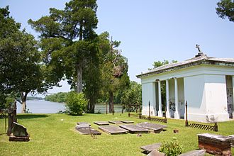 Demopolis, Alabama - The Glover Mausoleum and a portion of Riverside Cemetery overlooking the Tombigbee River.
