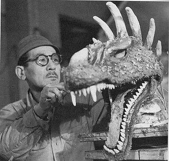 Anguirus - Anguirus' head under construction on the set of Godzilla Raids Again