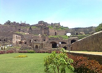 "Siege of Golconda - ""The modern Reminiscent's of the Golconda Fort, it was later rebuild and fortified by Aurangzeb after its conquest in the year 1687"""