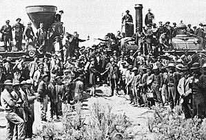 the famous Golden spike event at Promontory Summit, Utah