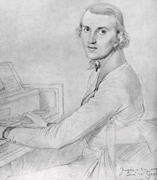 young man, clean shaven, in early 19th-century clothes, sitting at a piano keyboard and looking towards the viewer