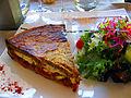 Gréoux-les-Bains Restaurant les Alpes Tarte au banon sur tomates et aubergine foudues.JPG