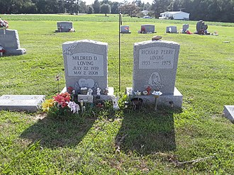 Loving v. Virginia - Graves of the Lovings in the St. Stephen's Baptist Church cemetery, Central Point