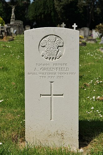 Royal Wiltshire Yeomanry - CWGC headstone in Rose Hill Cemetery, Cowley, Oxfordshire of an RWY private who died in 1919 six months after the Armistice