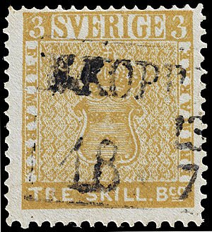 The Treskilling Yellow, a postage stamp with the Coat of Arms of Sweden on it